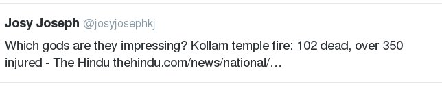 #KollamTempleFire Journalists Offesnive Tweet