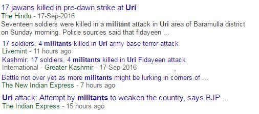 Media of Bharat reporting Uri jihadis as 'militants'